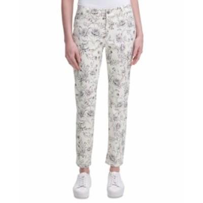 カルバンクライン レディース カジュアルパンツ ボトムス Printed Straight-Leg Pants Black/White Floral