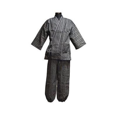 (グッズ)紳士用 しじら織り作務衣 綿100% 全6柄 M-LLサイズ (Lサイズ, A柄)