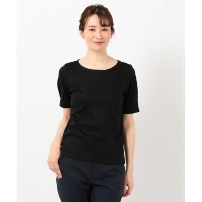 L size ONWARD(大きいサイズ)/エルサイズオンワード 【WEB限定色あり】コットンリブスムース クルーネックTシャツ ブラック系 T15