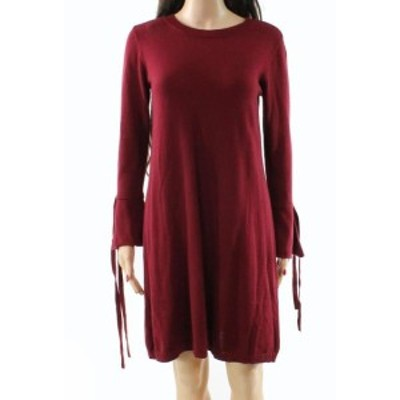 bell ベル ファッション ドレス Paper Crown NEW Red Womens Large L Bell Sleeve Knit Sweater Dress
