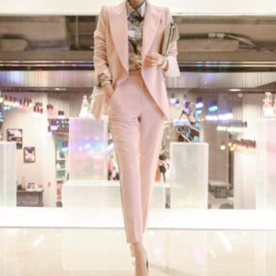 レディース 2点セット ジャケット + パンツ クロップドパンツ アンクル丈 セットアップ 長袖 ピンク S M L XL サイズ 送料無料