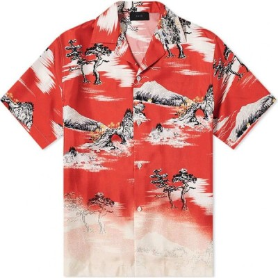 アミリ AMIRI メンズ 半袖シャツ カジュアルシャツ トップス faded aloha vacation shirt Red