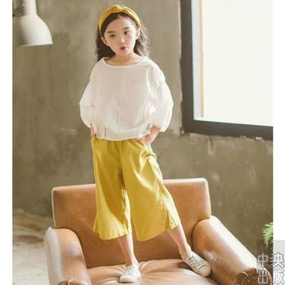 子供服 セットアップ 夏 韓国子供服 女の子 ジュニア キッズ 上下セット 2点セット 七分袖 Tシャツ 薄手 ガウチョパンツ 可愛い 通学着 通園着