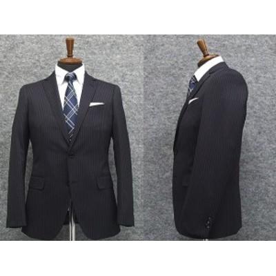 スタイリッシュ2釦スーツ 紺系 ストライプ [YA体][AB体] 秋冬物 総裏地 メンズスーツ