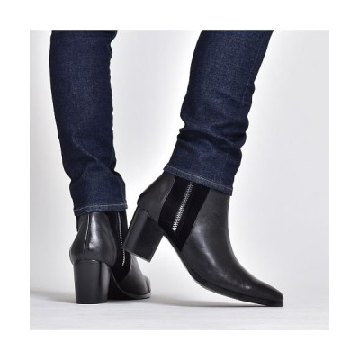 【シュベック】 ショートブーツ メンズ ブーツ ハイヒール ドレスブーツ 本革 スエード レザー コンビ シューズ サイドジップ 男性 紳士靴 靴くつ ベージュ ブラック 黒 メンズ ブラック 44(27.0cm) SVEC