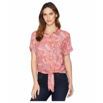 Mod-o-doc モドオードック 服 一般 Printed Rayon Tie-Front Shirt