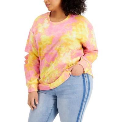 フル サークル トレンド FULL CIRCLE TRENDS レディース スウェット・トレーナー 大きいサイズ Plus Size Tie-Dyed Slit-Sleeve Sweatshirt Candy Pink Tie Dye