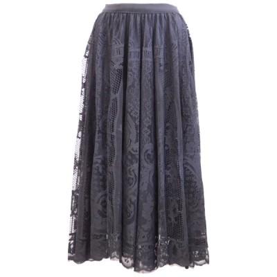 アラベスク模様レース織ロングスカート(ブラック)