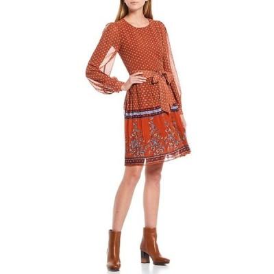 エーラブズエー レディース ワンピース トップス Pleated Print Dress with Soft Belt