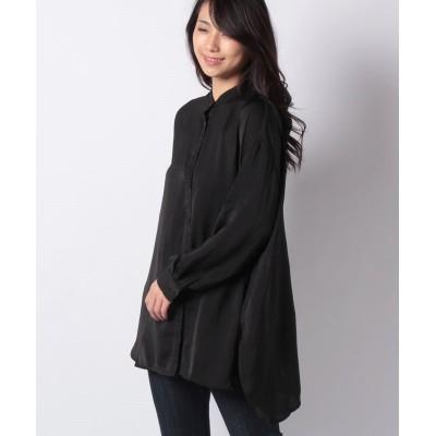 【スタイルブロック】 ヴィンテージサテンバックスリットシャツ レディース ブラック M STYLEBLOCK