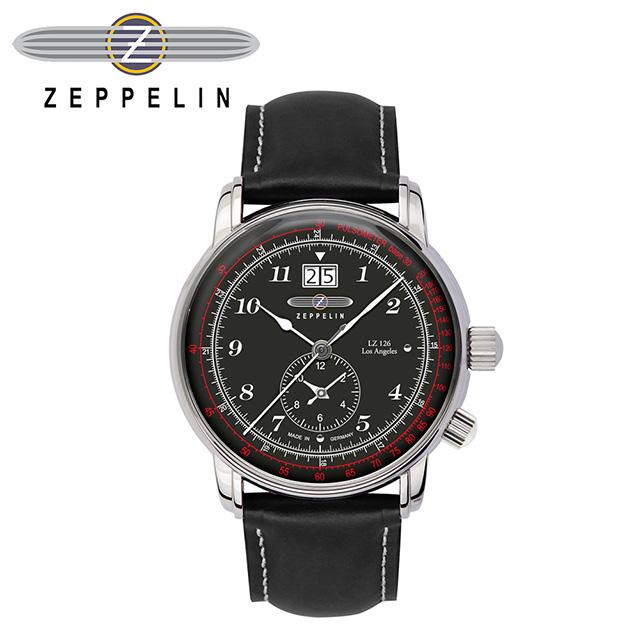 【齊柏林飛船錶 Zeppelin】洛杉磯GMT黑盤石英錶 42mm 男/女錶 86442