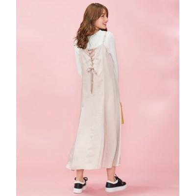 【洗える】サテンキャミ ドレス