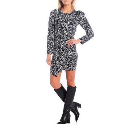 シュガーリップス レディース ワンピース トップス Tabitha Leopard Print Knit Puff Sleeve Bodycon Dress Black Multi