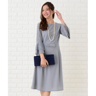 【レースレディース】 フレア袖切り替えシンプルワンピース・ドレス レディース グレー XL Lace Ladies