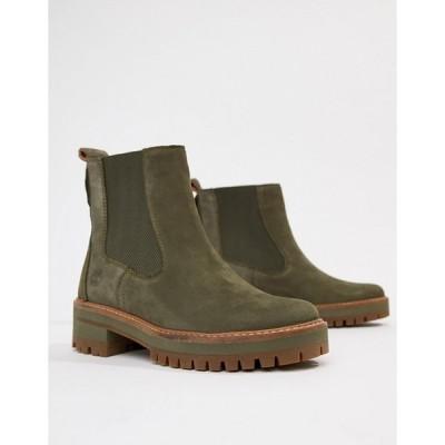 エイソス レディース  ブーツ・レインブーツ シューズ ASOS Timberland Courmayeur Valley Olive Leather Chelsea Pull Ankle Boots