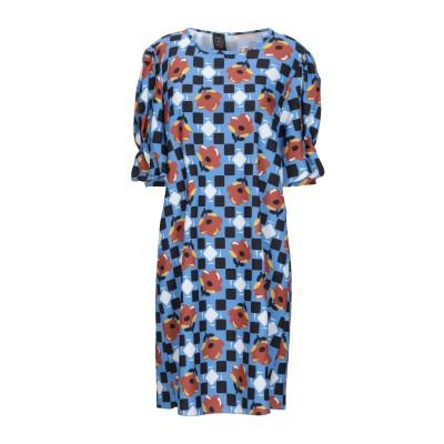 GUTTHA ミニワンピース&ドレス ブルーグレー 44 ポリエステル 100% ミニワンピース&ドレス