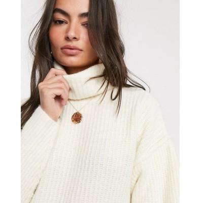 エイソス レディース ニット&セーター アウター ASOS DESIGN fluffy sweater with cowl neck Cream