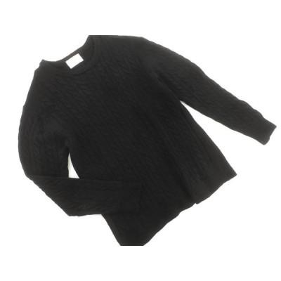 URBAN RESEARCH DOORS アーバンリサーチドアーズ ウール混 ケーブル編み ニット セーター size40/黒 ◆■ ☆ alc8