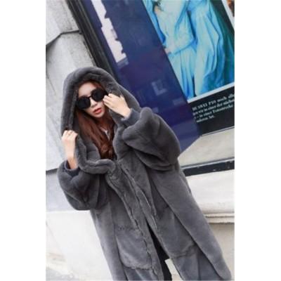 今が絶対買い流行💓大人気韓国ファッション 大人気 早い者勝ち オシャレ 厚手  ロングセクション フード付き ファー・毛皮 コート