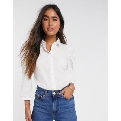 ワイエーエス レディース シャツ トップス Y.A.S shirt with puff sleeves in white