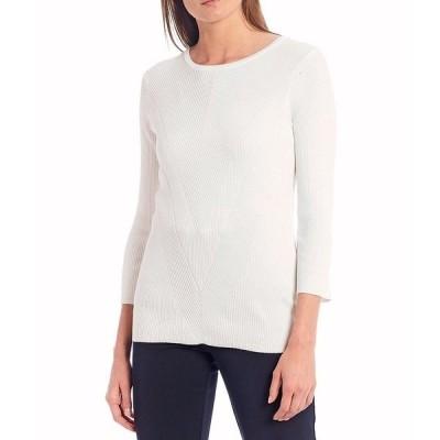 インベストメンツ レディース ニット&セーター アウター 3/4 Sleeve Ribbed Crew Neck Sweater Soft White