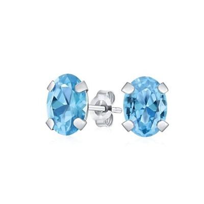 1.6CT ジェムストーン オーバル シェイプ スイス ブルー Topaz スタッド Earrings For レディース Real (海外取寄せ品)