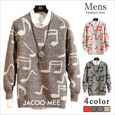 セーター メンズ ニット 長袖 シャツ トップス フェイクレイヤード カットソー インナー  重ね着 音符 ファッション おしゃれ 送料無料