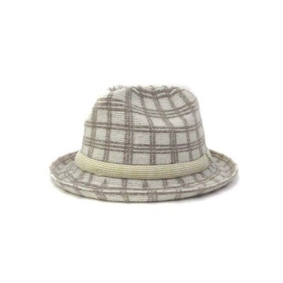 【中古】ワールド WORLD ハット ベージュ ウール混 チェック柄 中折れ 帽子 美品 レディース 【ベクトル 古着】