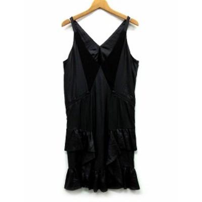 【中古】ディーゼル DIESEL ノースリーブ ドレス ワンピース ミニ フリル 薄手コーティング素材 黒 XS レディース