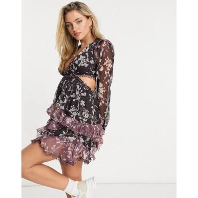エイソス レディース ワンピース トップス ASOS DESIGN long sleeve mini dress in mixed floral print with circle trims Multi