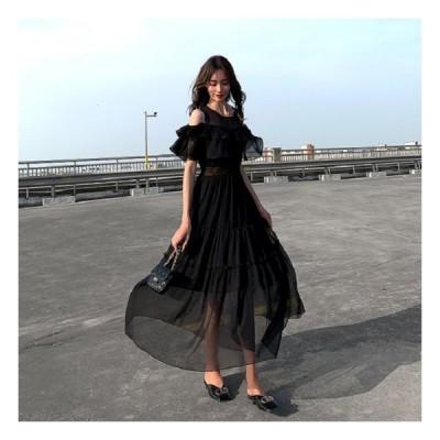 ロングワンピース シースルー 透け感 肩出し エレガント きれいめ ブラック ワンピースドレス オケージョンワンピース 御呼ばれ