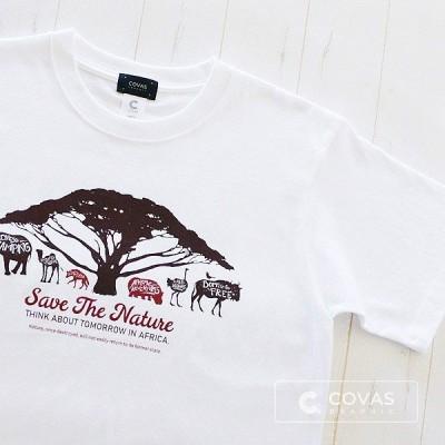 COVAS GRAPHIC Tシャツ アフリカンアニマル ホワイト 白 301333-10 ユニセックス 半袖 プリントTシャツ 自然 動物
