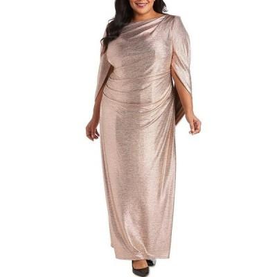 アールアンドエムリチャーズ レディース ワンピース トップス Plus Size Stretch Crinkled Foil Ruched Waist Drape Back Dress Rose/Gold