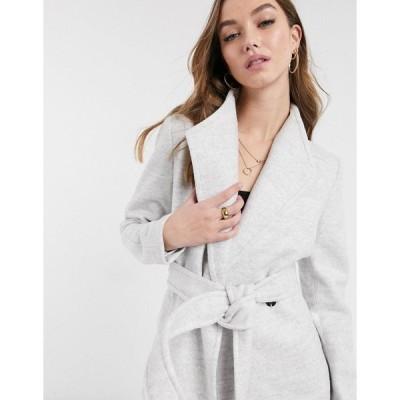 エバニュー レディース ジャケット&ブルゾン アウター Ever New short wrap tie smart jacket in gray Grey