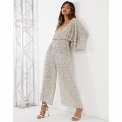 エイソス ASOS DESIGN レディース オールインワン ジャンプスーツ ワンピース・ドレス kimono sleeve embellished jumpsuit グレー