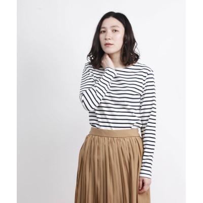 aimoha / ベーシックロングスリーブボートネックボーダーTシャツ WOMEN トップス > Tシャツ/カットソー