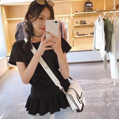 Tシャツ      夏 カスタマイズ 上着 ゆったり 丸襟 半袖  レディース 緩さ ウエスト 細く 黒い