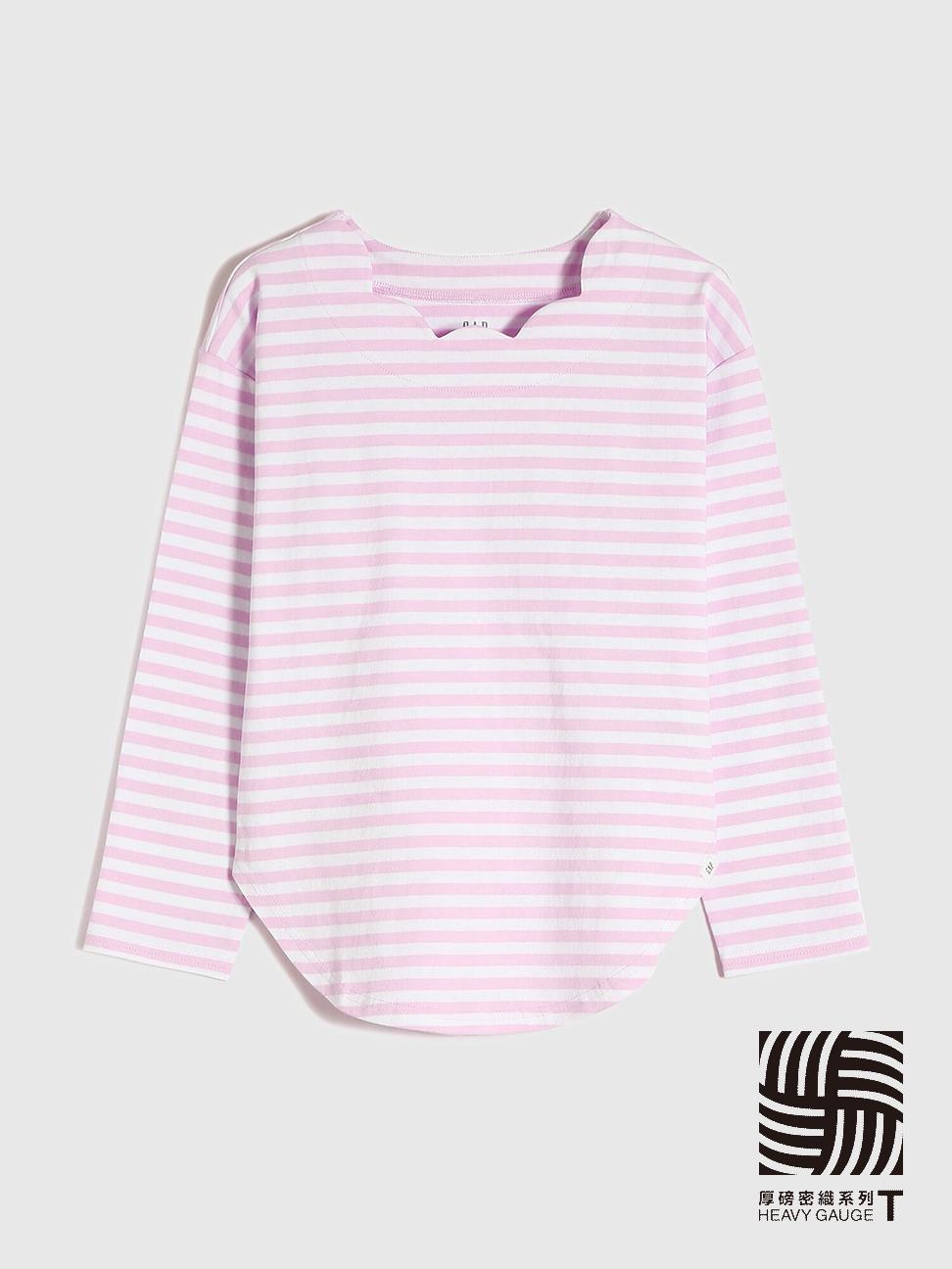 女童 厚磅密織系列 純棉條紋波浪領長袖T恤