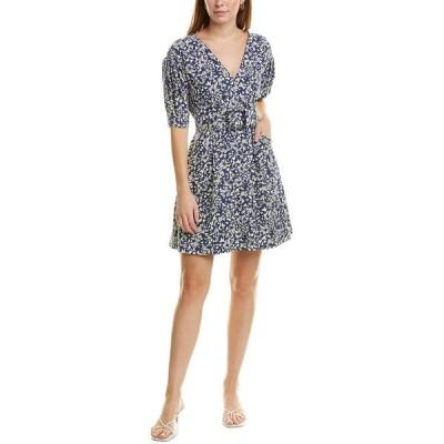 タニアテイラー ワンピース トップス レディース Tanya Taylor Belted Linen-Blend Mini Dress navy