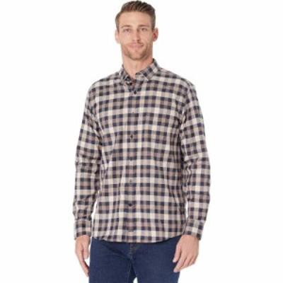 ジョンストンandマーフィー Johnston and Murphy メンズ シャツ トップス Premium Cotton Shirt Brown/Navy Large Scale Houndstooth Pla