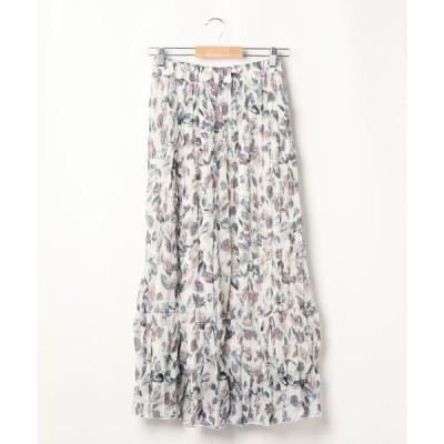 スカート 花柄 クリンクルスカート