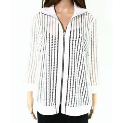 Ming Wang ミンウォン ファッション 衣類 Ming Wang NEW White Black Striped Mesh Womens Size 0X Plus Jacket