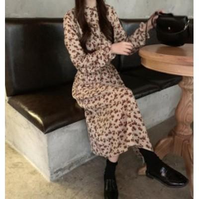 韓国 ファッション レディース ワンピース ロング ミモレ丈 花柄 フレア ハイウエスト 長袖 ゆったり レトロ 大人可愛い カジュアル