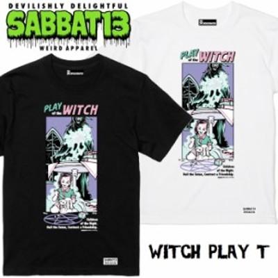 SABBAT13 / サバトサーティーン / サバト13「WITCH PLAY T」Tシャツ 半袖 黒 白 ブラック ホワイト アメコミ スカル ドクロ メンズ レデ