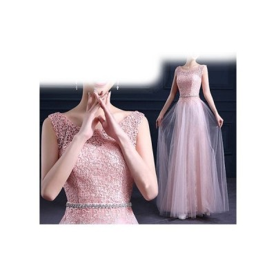 ノースリーブ☆ウエストビジュー刺繍編みロングドレス【ピンク】