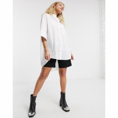 トップショップ Topshop レディース ブラウス・シャツ トップス Oversized Poplin Shirt In White ホワイト
