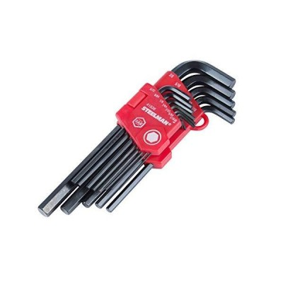 Steelman 13-Piece Long Arm Hex Key Wrench Set, Inch (SAE), Extended Length Driver Shafts for Long Reach, Chamfered Ends, Durable Steel Resis