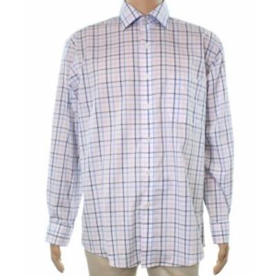ファッション ドレス Club Room NEW Blue Mens Size 14 1/2 Regular Fit Windowpane Dress Shirt