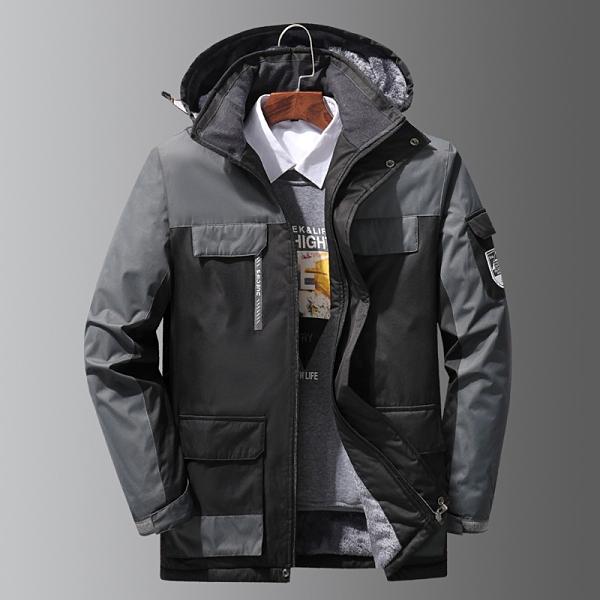 夾克外套加絨 男生外套加厚 男士外套厚款 羽絨外套韓版外套 冬天保暖男款中老年冬季衝鋒衣棉服