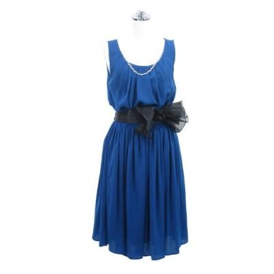 パーティードレス フォーマルドレス ワンピース 胸元パールサテンドレス ブルー 9号 P37